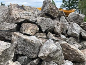 Oversized boulders to be jackhammered